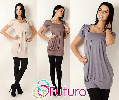 Elegant Womens Mini Dress Square Neck Short Sleeve Top Tunic Sizes 8-18 8943