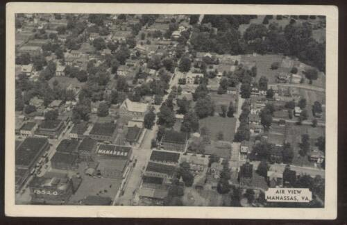 Postcard Manasses, VirginiaVA Town Aerial View 1930's