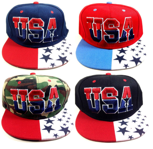 E-FLAG USA TEXT STARS & STRIPES AMERICAN FLAG ADJUSTABLE SNAPBACK HAT CAP RETRO