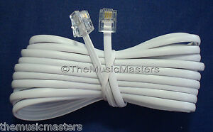 White-25-039-ft-Telephone-Modular-Line-Cord-Phone-Cable-Extension-Wire-RJ11-VWLTW