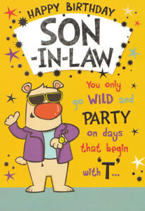 Image Is Loading Funny Humorous SON IN LAW Happy Birthday Card