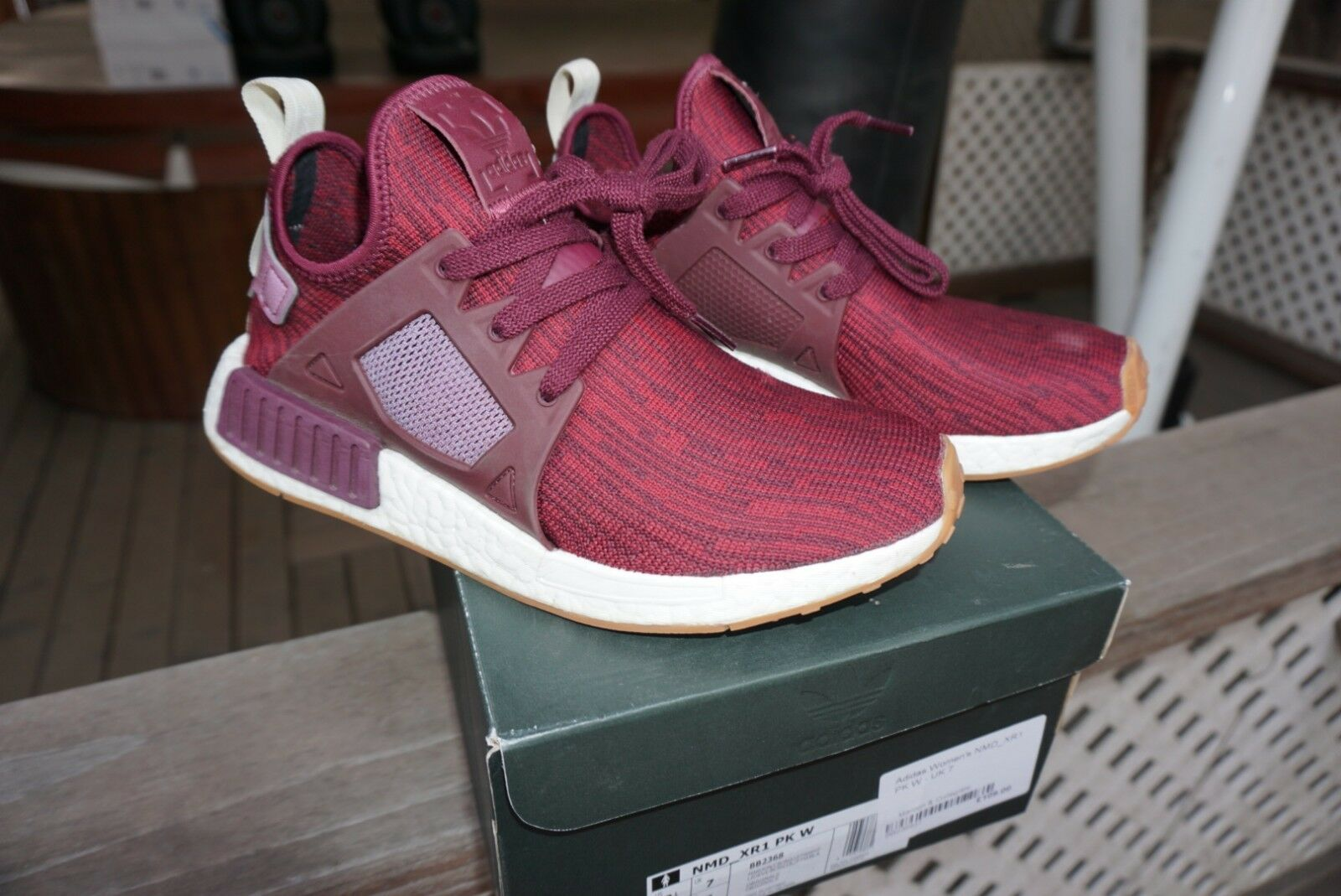 Adidas NMD Xr1 Maroon Burgundy Gum Women Size 8.5 Men Size 7.5 Primeknit