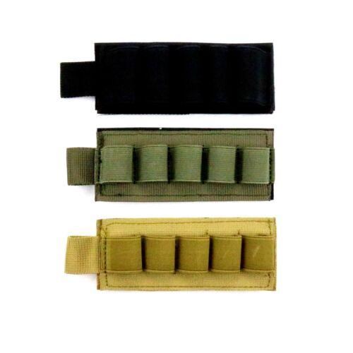 Shotgun Black Tan Green Shot Card Elastic Hook and Loop Adhesive Saddle 5 Shells
