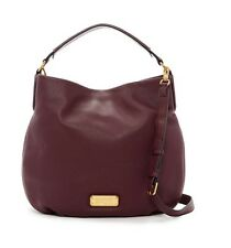 NWT Marc by Marc Jacobs New Q Hillier Dark Wine Convertible Leather Hobo