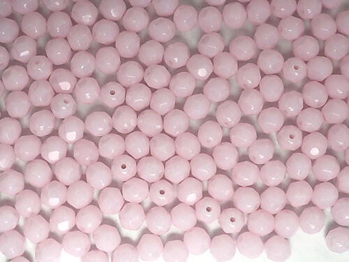 "Opaque 16/"" str Czech Fire Polished Round Faceted Glass Beads in Pink Alabaster"