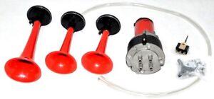 12 V Air Horn Kit Triple Compresseur Très Fort Trois Tons De Remplacement + Relais Kit-afficher Le Titre D'origine