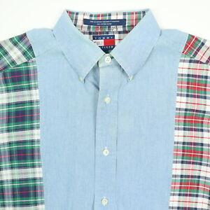 948309684b586 Details about Vtg Tommy Hilfiger Shirt Mens Oversized MEDIUM Oxford Plaid  Color Block 90s