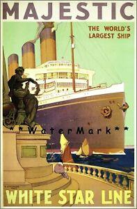 White-Star-Line-1922-SS-Majestic-Ship-Vintage-Poster-Print-Retro-Style-Art