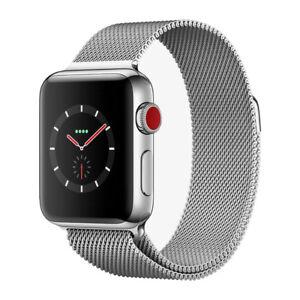 Apple Watch S3 Series 3 Gps Cellular Stainless Steel 38mm Milanese Loop Silver Ebay