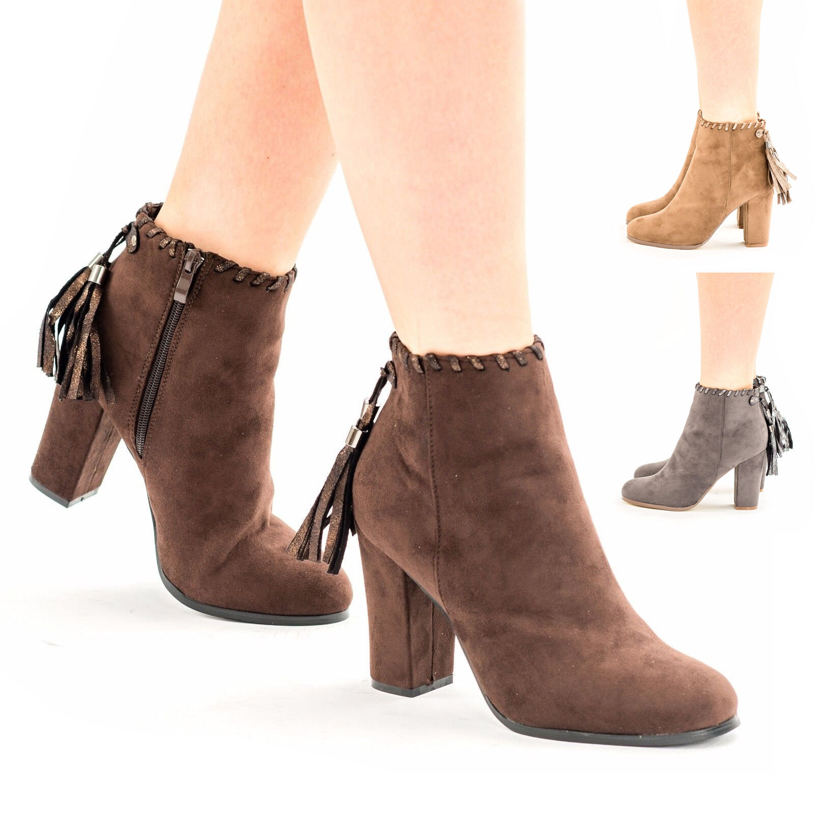 Womens Girls Block Heel Tassel Suede Shoes Zip Up Ankle Sock Fit Boots UK Size