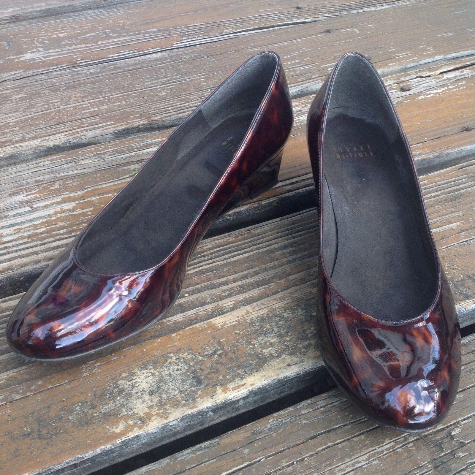 Stuart Weitzman Tortoise Marroneee Patent Leather Leather Leather Wedge Heels Sz 8.5 9 donna scarpe 2efa03
