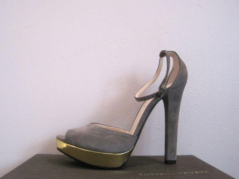 Bottega Veneta Grigio Suede Gold Platform Pumps Sandals 38.5 8.5  720