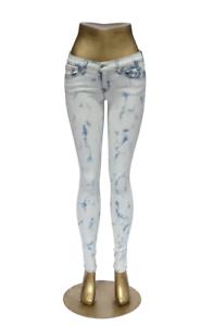 Flying Monkey Jeans Skinny L7788 Acid Wash white bluee sz 27 inch NWT