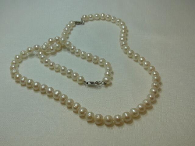 4765-Perlenkette mit Armkette silververschluß Kette lang 43 cm Armkette 18 cm