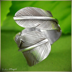 Sterling-Silver-Ring-925-Genuine-Leaf-Feather-Boho-Chic-Handmade-Adjustable-Size