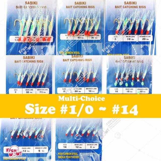 10packs Size 14 Fishing Sabiki Piscatore Gold 6Hook Rig Baits Fish Lures #14 New