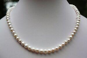 A1 ca 44 cm Zucht Süßwasser Perlen Schmuck Halskette Collier Echtschmuck Kette