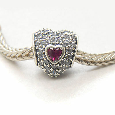 New 925 Sterling Silver In My Heart CZ & Synthetic Ruby Charm beads