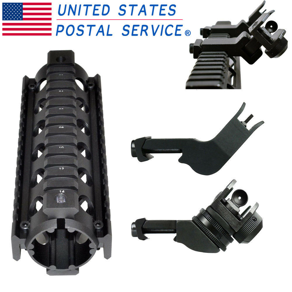 Hunting Length 6.7  Handguard Picatinny Quad Rail+Flip Up Front Rear Iron Sight