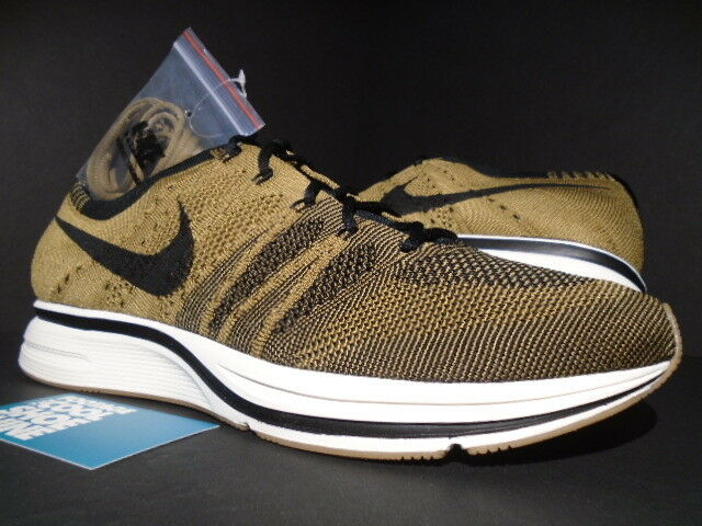 NIKE FLYKNIT TRAINER RACER goldEN BEIGE BROWN BLACK WHITE GUM AH8396-203 NEW 12