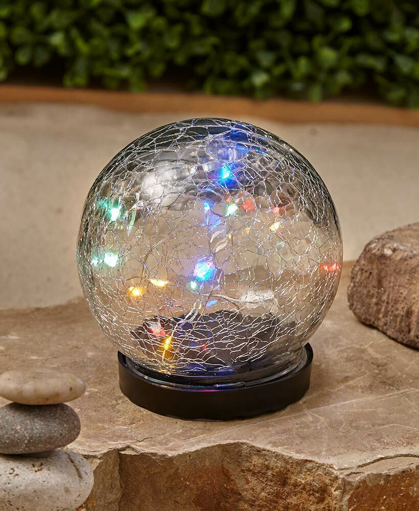G19 Garden Sculpture with Solar White LED Light Crackle Ball Energy Saving.