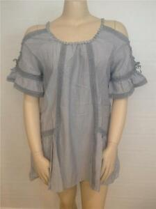 NWT-PRETTY-ANGEL-VINTAGE-BOHO-LINEN-COLD-SHOULDERS-TUNIC-TOP-SZ-S-M-L-XL