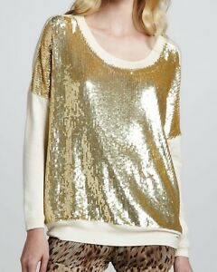 cc2ff5f696 Nwt  595 Haute Hippie Sequined Knit-Sleeve Pullover Sweater ~White ...