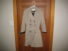 Women's Calvin Klein Beige Double Breasted Pleat Flare Belted Trench Coat - Sz M
