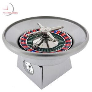 ROULETTE-WHEEL-MINIATURE-CASINO-COLLECTIBLE-GAMBLING-MINI-CLOCK-SPINS