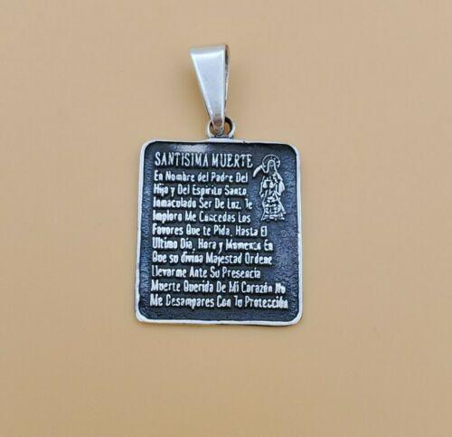 Argent Sterling .925 Santa muerte Avec Prière Sainte Mort GRIM REAPER médaille-SMO74