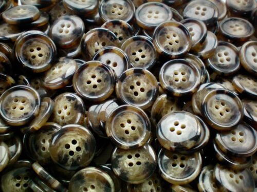 Large 20mm 32L Golden Brown Animal Swirl Patterned 4 Hole Quality Buttons S86