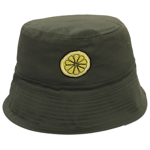 Black Lemon Embroidered Bucket Hat The Bands Tribute Olive Wine Stone