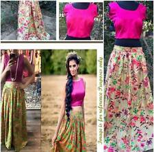 DESIGNER PARTY WEAR UNSTITCHED CROP TOP WITH SKIRT