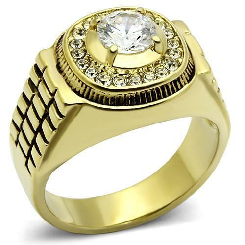 Men/'s 0.84ct Round AAA Grade Cubic Zircon CZ Stainless Gold IP Ring 8-13 TK948G
