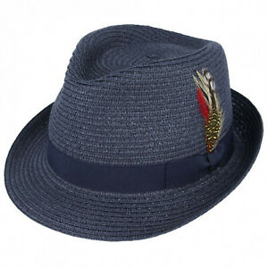Mens Trilby Hat Striped Hat Band UK Fedora All Sizes Boxed Cap Unisex New Ladies