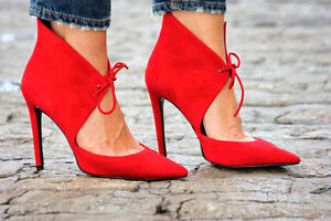 823416d7afa ZARA RED SUEDE LEATHER HIGH HEEL ANKLE BOOT EU 37 US 6.5 UK 4 Ref ...