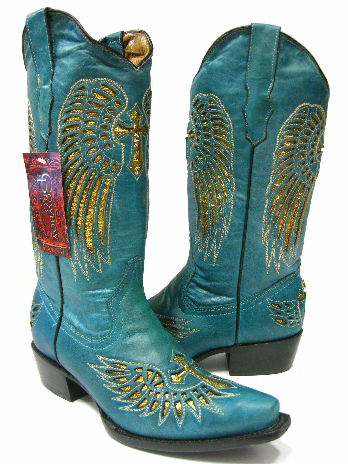 Wouomo Turquoise Cross Wings Inlay oro Sequins Leather Cowboy stivali Snip Toe