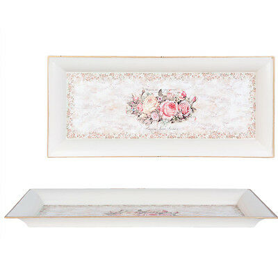 Tablett Clayre & Eef ROSES 42x18 Shabby Country Home Landhaus Nostalgie
