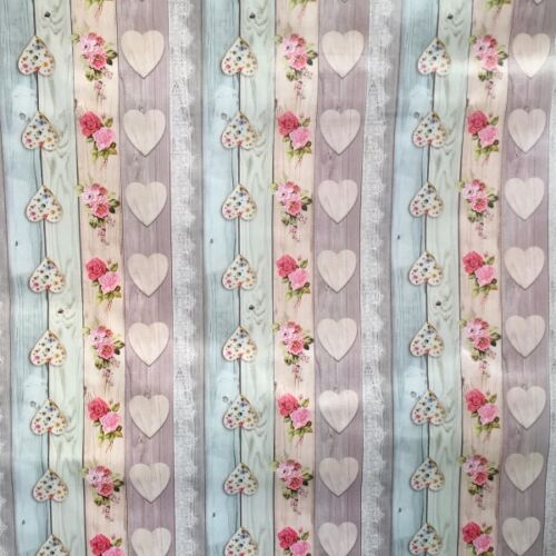PVC Table Nappe Amour Bouquet Vintage Rustique Cœurs en Bois Rose Bleu Rose Essuyer Capable