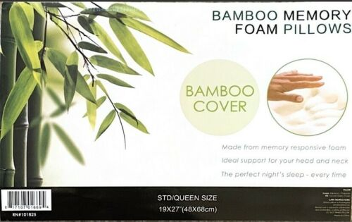 Bamboo Pillow Queen Size Memory Foam Machine Washable Miracle pain Relief