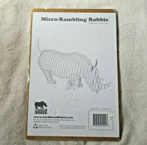 JR-1 Cardboard Rhino Trophy Micro-Rambling Robbie Cardboard Safari New Sealed