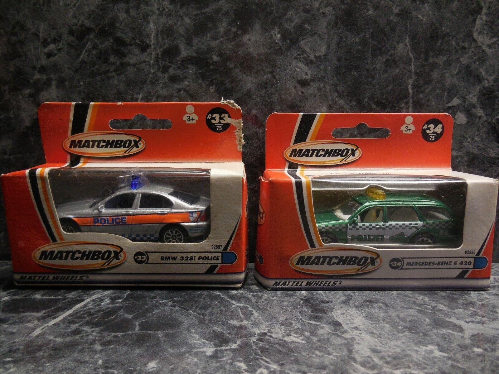 2 Vintage 2000 Matchbox coches de policía BMW 328i Mercedes-Benz E 420 Nuevo