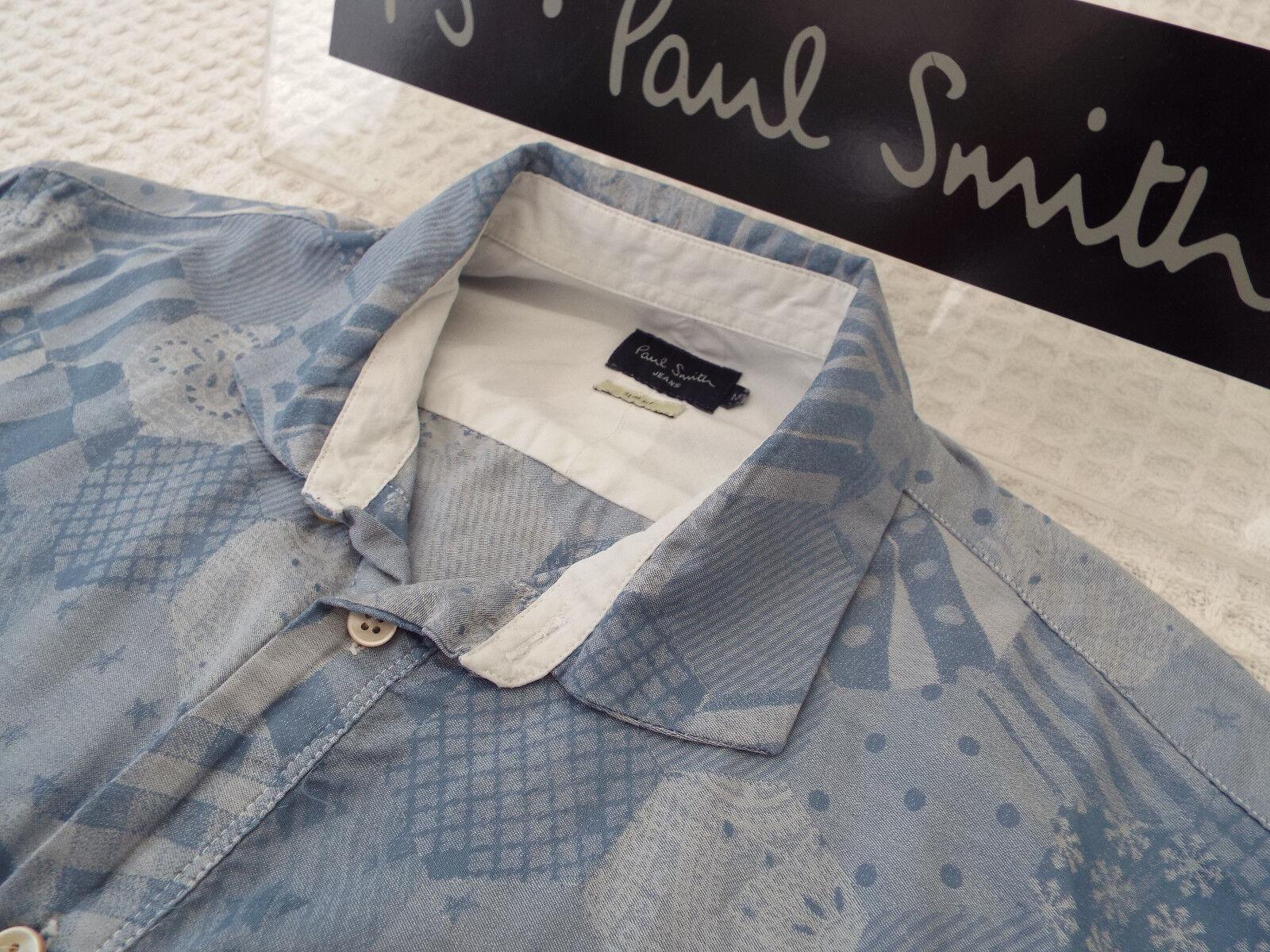 Paul Smith Da Uomo Camicia  Taglia M (circonferenza petto 38 )  RRP +  astratto fiocco di neve