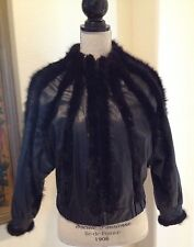 BALENCIAGA Black Mink & Leather Jacket Coat Unique High End Design Sz M Italy!!!