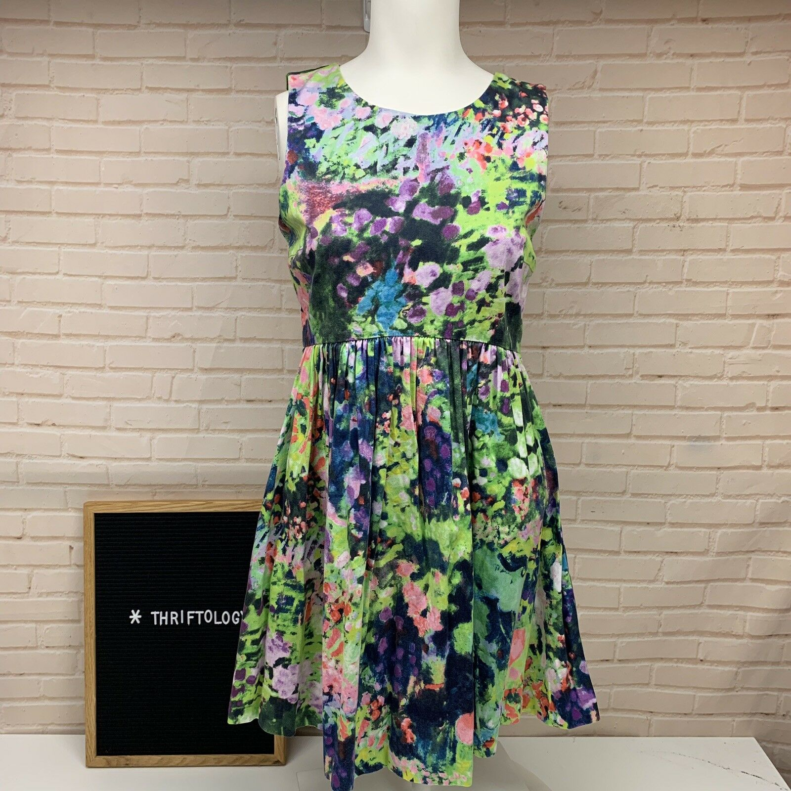 ZARA Watercolor Painting Floral Tank Dress BLOGGER FAV Sold Out Size Small S