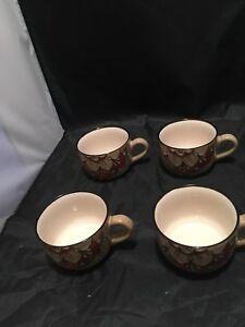 Pier-1-Imports-Stoneware-Cup-Soup-Cereal-Set-4-Bowls