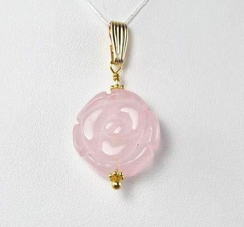 Love! Pink Rose Quartz Rose & 14Kgf Pendant 506758