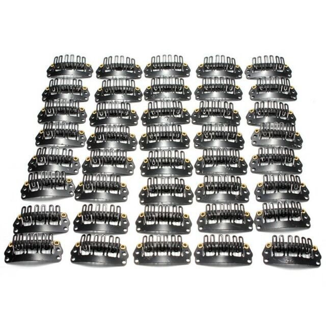 40pcs U-shaped clamp For Hair Extensions Wig Clips DIY Comb Black Frame  G4J3