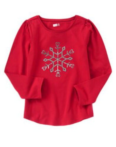 NWT Crazy 8 ACTIVE HOLIDAY PARTY Red L//S Big Sequined Snowflake T-Shirt Top