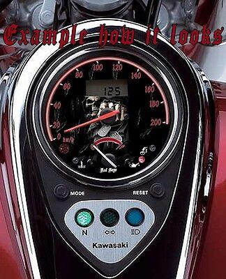 kawasaki vulcan 900 custom speedometer face plate nuclear skull mph